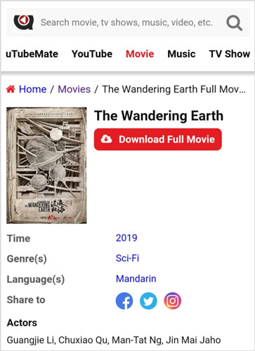 The Wandering Earth full movie download uTubeMate