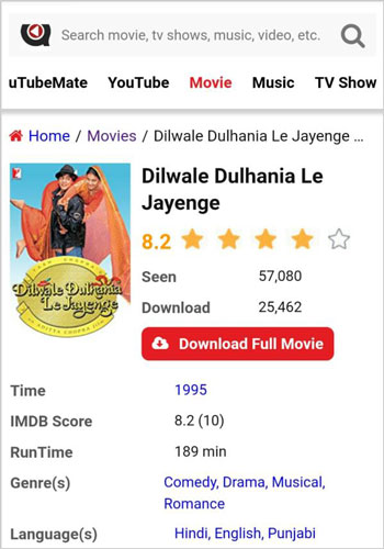 Dilwale Dulhania Le Jayenge movie download uTubeMate