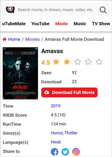 Amavas movie download uTubeMate