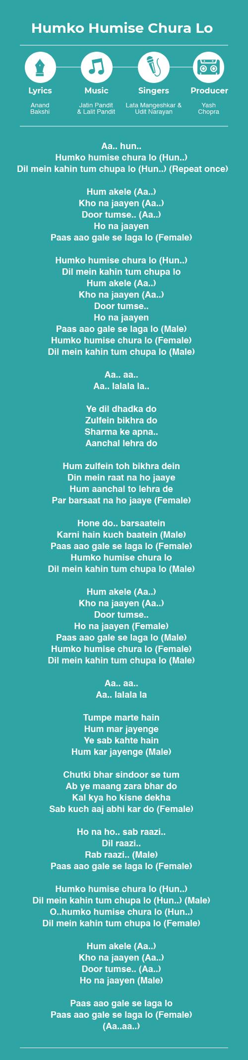 Humko Humise Chura Lo lyrics