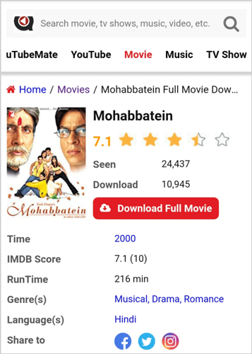 Mohabbatein Full Movie Download uTubeMate