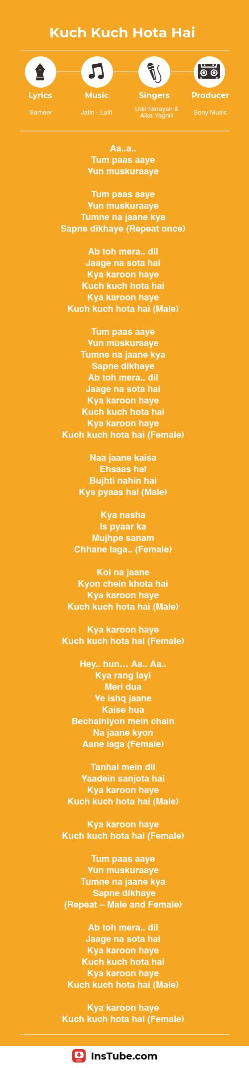 KKHH songs Kuch Kuch Hota Hai lyrics