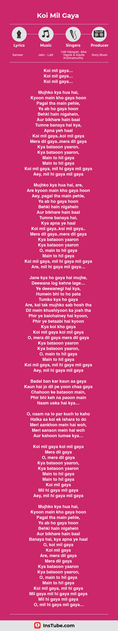 Kuch Kuch Hota Hai songs Koi Mil Gaya lyrics