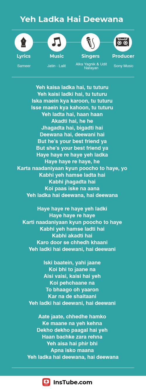 Kuch Kuch Hota Hai songs Yeh Ladka Hai Deewana lyrics