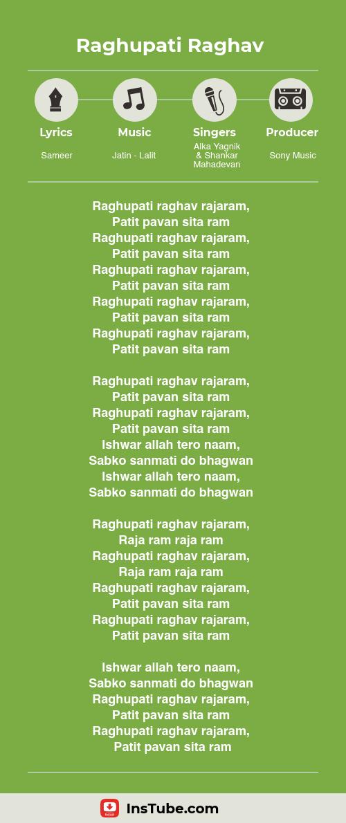 Kuch Kuch Hota Hai songs Raghupati Raghav lyrics