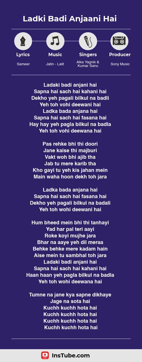 Kuch Kuch Hota Hai songs Ladki Badi Anjaani Hai lyrics