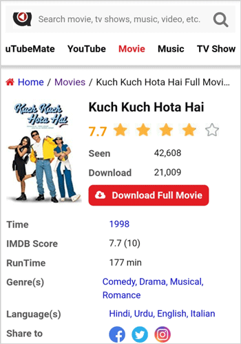 Kuch Kuch Hota Hai Full Movie Download uTubeMate
