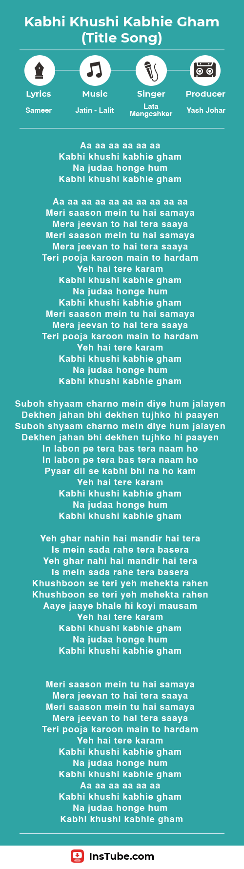 InsTube Kabhi Khushi Kabhi Gham song lyrics