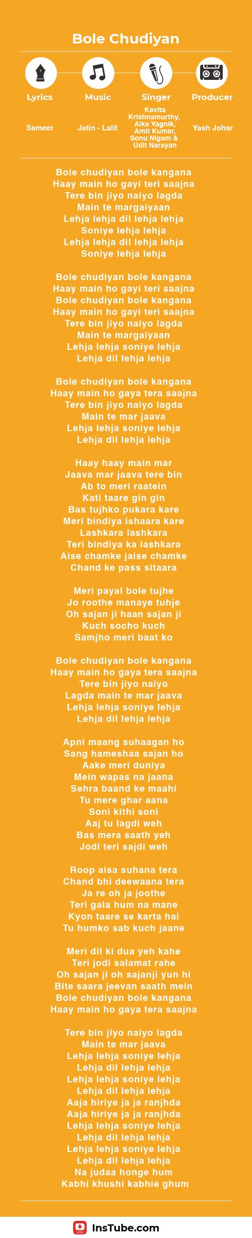 InsTube Kabhi Khushi Kabhi Gham… Bole Chudiyan Iyrics