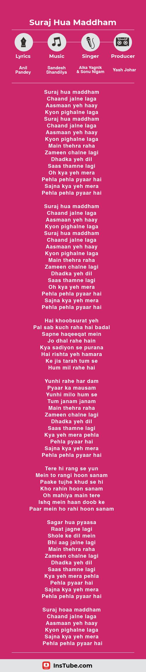 InsTube Kabhi Khushi Kabhi Gham… Suraj Hua Maddham lyrics