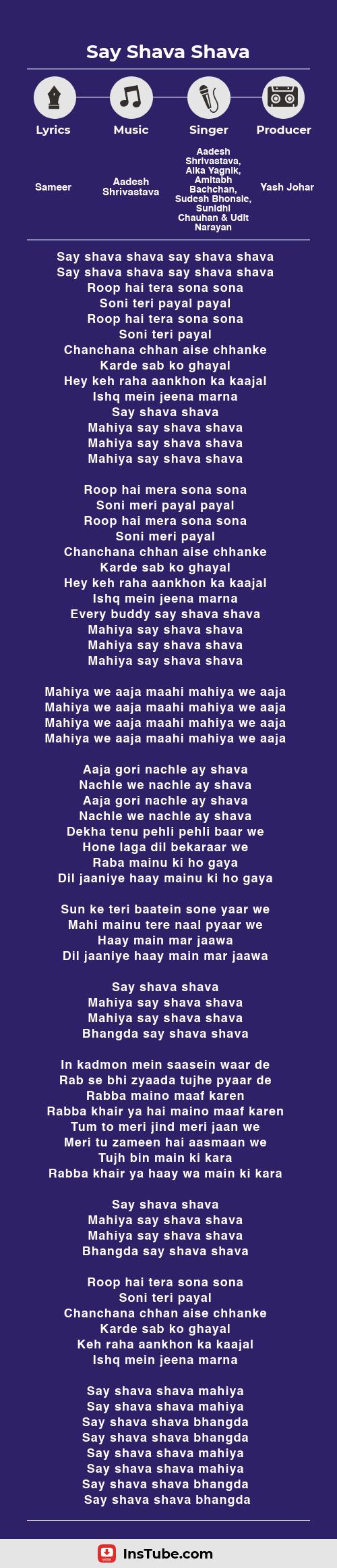 InsTube Kabhi Khushi Kabhi Gham… Say Shava Shava lyrics