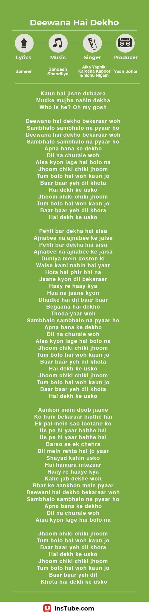 InsTube Kabhi Khushi Kabhi Gham… Deewana Hai Dekho lyrics