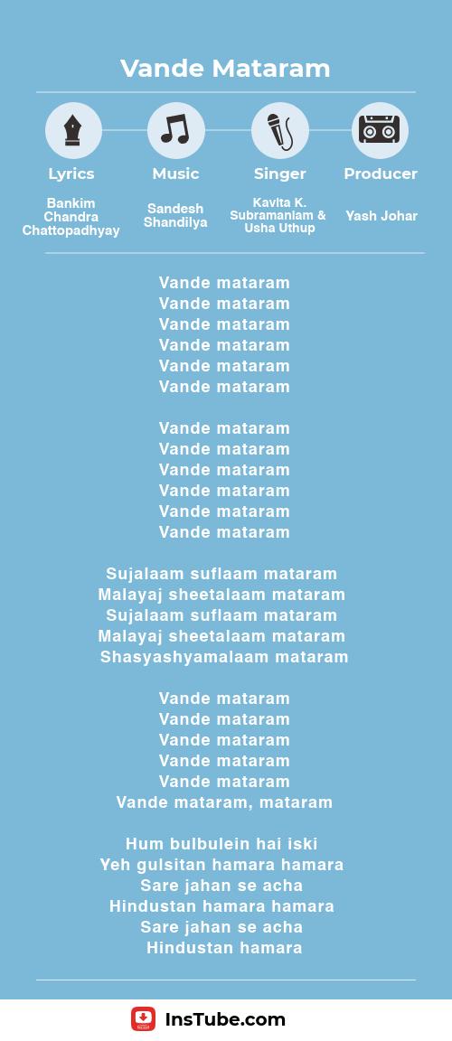 InsTube Kabhi Khushi Kabhi Gham…Vande Mataram lyrics