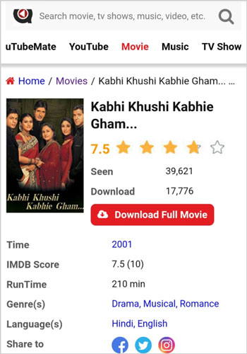 Kabhi Khushi Kabhie Gham Full Movie Download uTubeMate