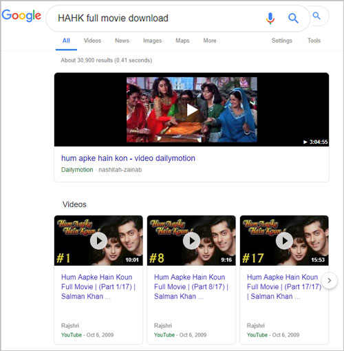 HAHK search Hum Aapke Hain Kaun full movie download