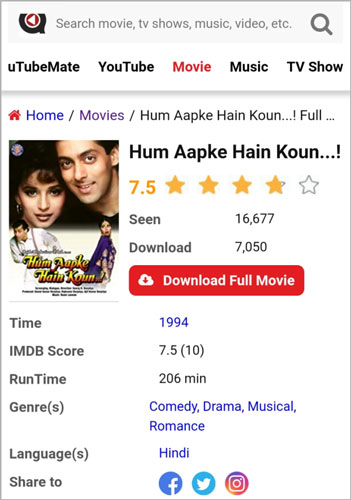 Hum Aapke Hain Kaun Full Movie Download uTubeMate