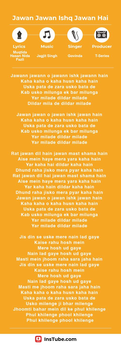 lyrics Hawa Hawa Billoo Badshah Jawan Jawan Ishq Jawan Hai