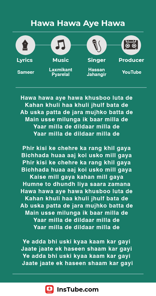 Hawa Hawa Aye Hawa lyrics Insaaf Apne Lahoo Se movie