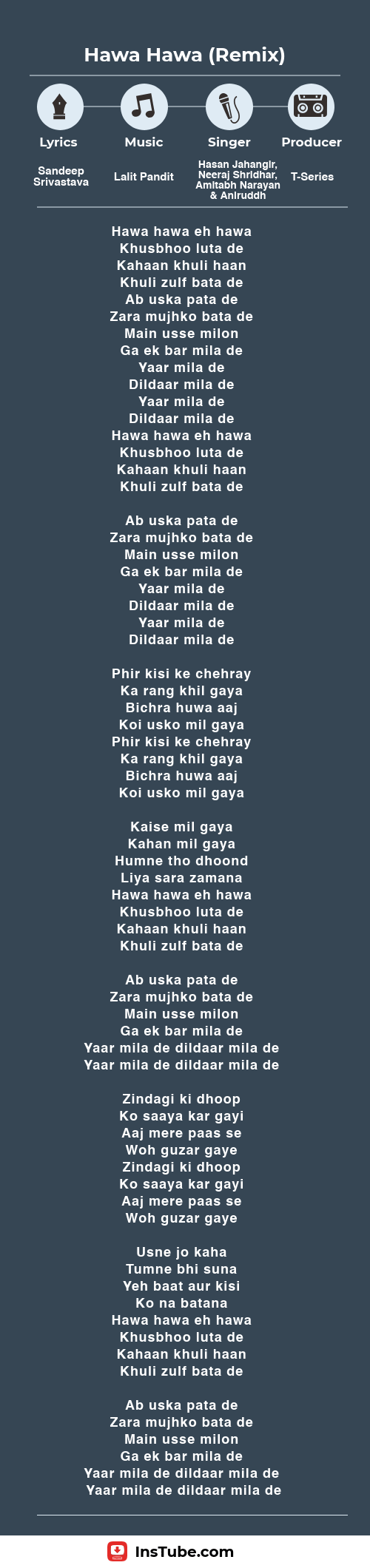 Lyrics Hawa Hawa Remix version in Chaalis Chauraasi
