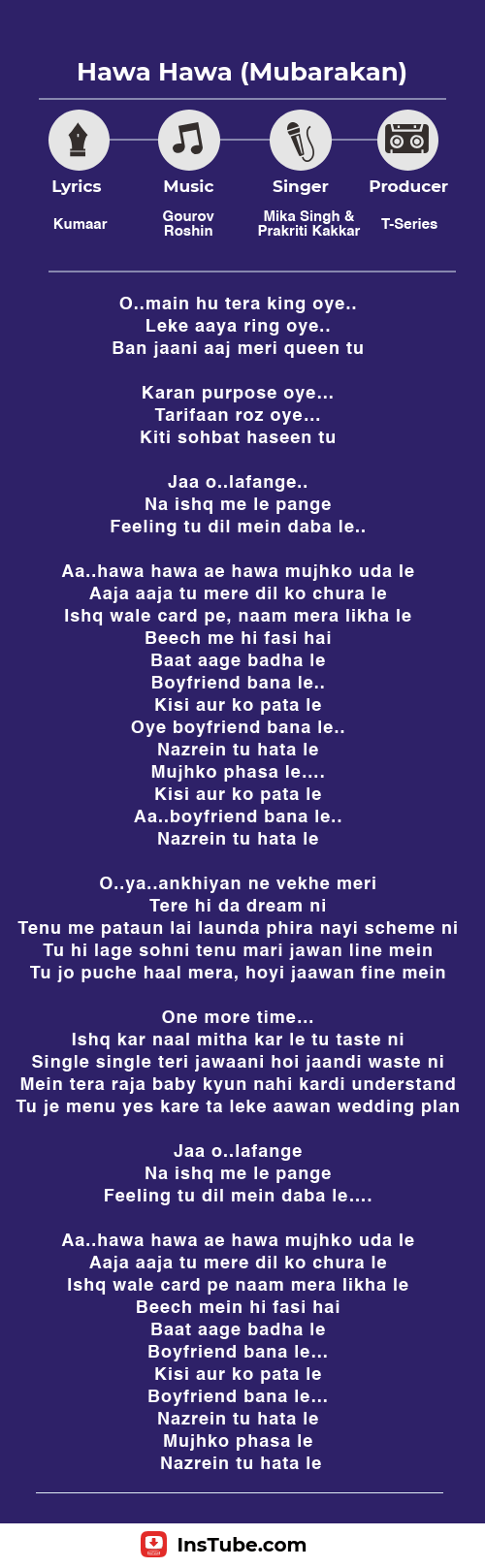 Hawa Hawa song lyrics Mubarakan film