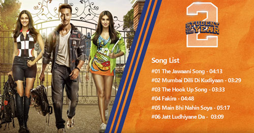 film Student of the Year 2 songs list