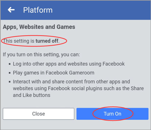 Turn On button on FB Platform screen