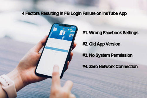 4 factors of FB login failure on InsTube app