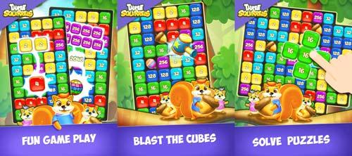 blast cubes solve puzzles Three Squirrels