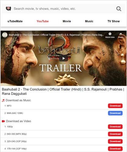 download movie trailer uTubeMate