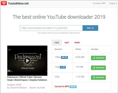 YoutubNow free online video downloader