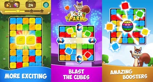 blast cubes solve puzzles Block Farm Saga