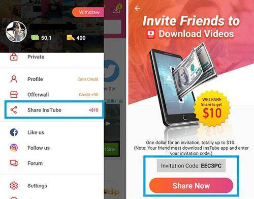 share InsTube app get 10- dollars